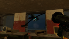 The player then needs to fight the gunship using the rockets, ducking fire behind the pillars between windows.
