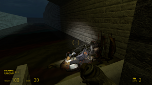 The player starts on a small dock, with an airboat floating in the nearby canal.