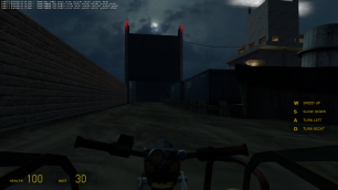 Turning right, the player sees a large gate being lowered, blocking their path. Sirens start coming out of the nearby lighthouse, implying that the gate control mechanism is there.