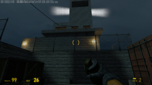 Arriving at the dock before the gate, the player's attention is attracted to the right by two guards firing from the control room.