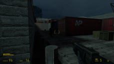 After dispatching those guards, the player heads right to proceed down the dock. Three more guards appear for the player to take care of.