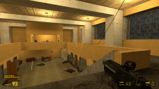 After taking care of the first wave of guards in the building, the player climbs the stairs, only to be attacked by two more enemies. This attack calls attention to the office area, as does the wire running to there from the door.