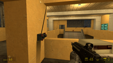 After dispatching those guards, the player can go over and hit the button to unlock the doors, which are very visible from the office.