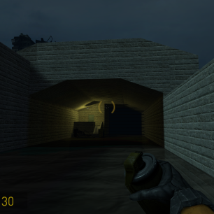 How the tunnel housing the player start appears in-game