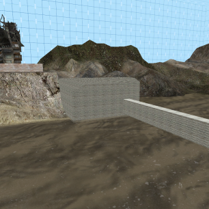 A shot from within the 3D skybox, showing what details had to be aligned with the actual level geometry.